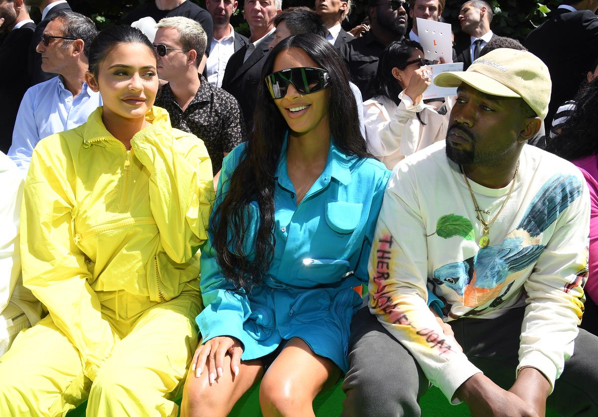 Kylie Jenner, Kim Kardashian and Kanye West attend the Louis Vuitton Menswear Spring/Summer 2019 show as part of Paris Fashion Week on June 21, 2018 in Paris, France.