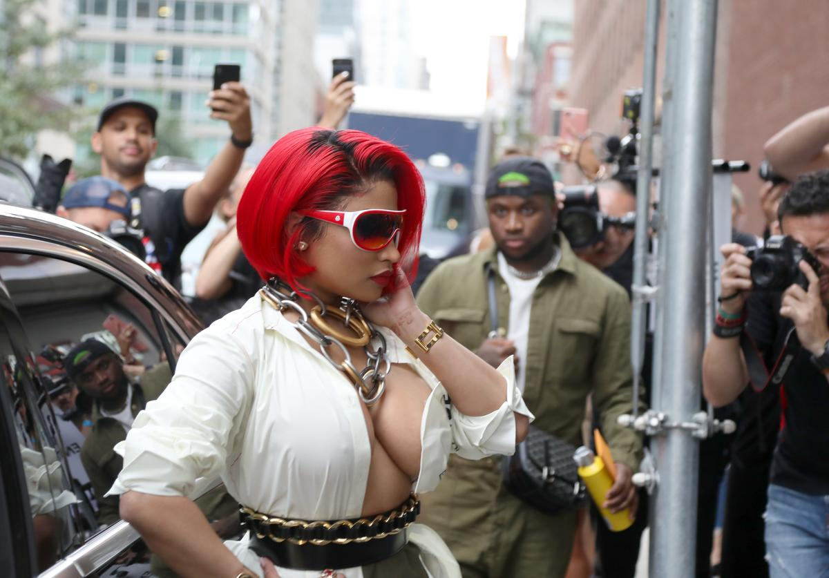 Nicki Minaj exits the MONSE show at NYFW: The Shows 2018 on September 7, 2018 in New York City