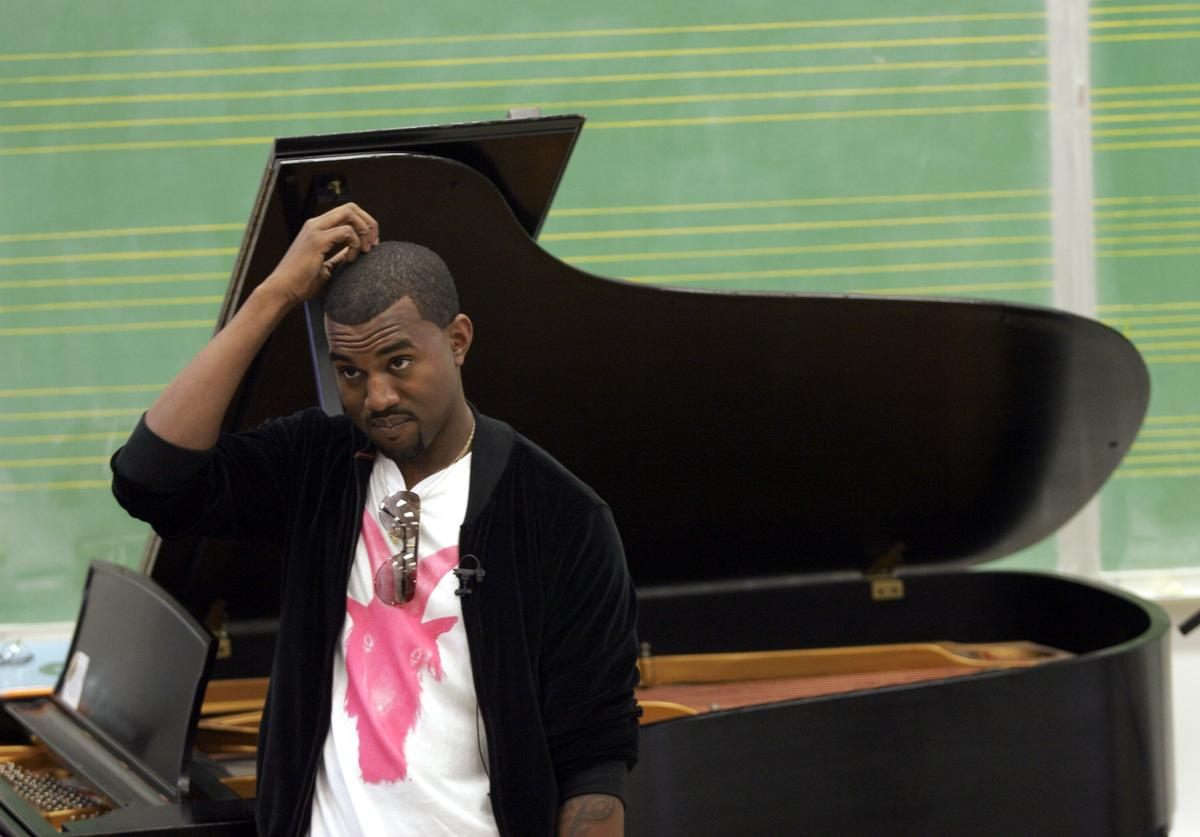 Kanye West appears at Chicago State University for 'MTVu Stand In' September 1, 2005 in Chicago, Illinois