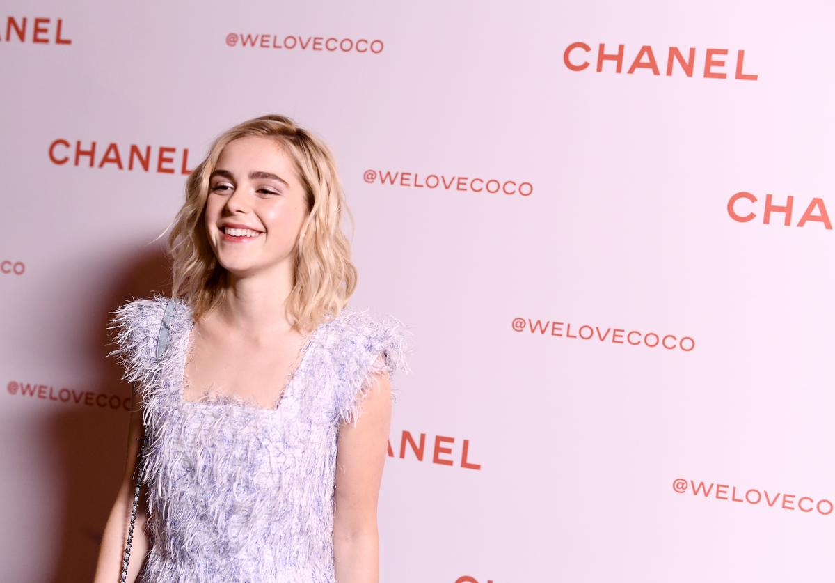 Actress Kiernan Shipka, wearing Chanel, attends a Chanel Party to Celebrate the Chanel Beauty House and @WELOVECOCO at Chanel Beauty House on February 28, 2018 in Los Angeles, California.