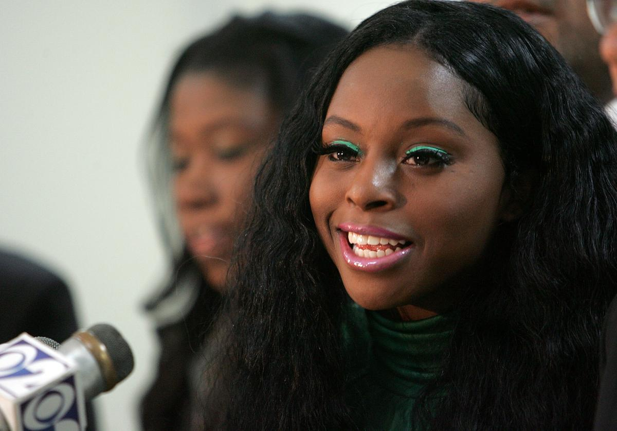 Recording artist Foxy Brown speaks during a press confrence on February 26, 2007 in the Brooklyn borough of New York City. Brown addressed the reported allegations against her for battery and obstruction of justice in Florida on February 15.