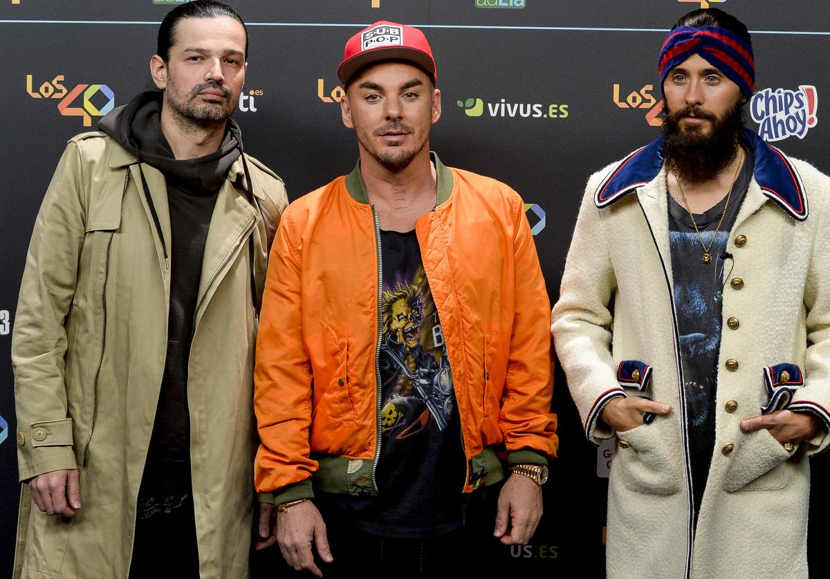(L-R) Tomo Milicevic, Shannon Leto and Jared Leto of Thirty Seconds To Mars music band attend 'Los 40 Music Awards' photocall at WiZink Center on November 10, 2017 in Madrid, Spain.