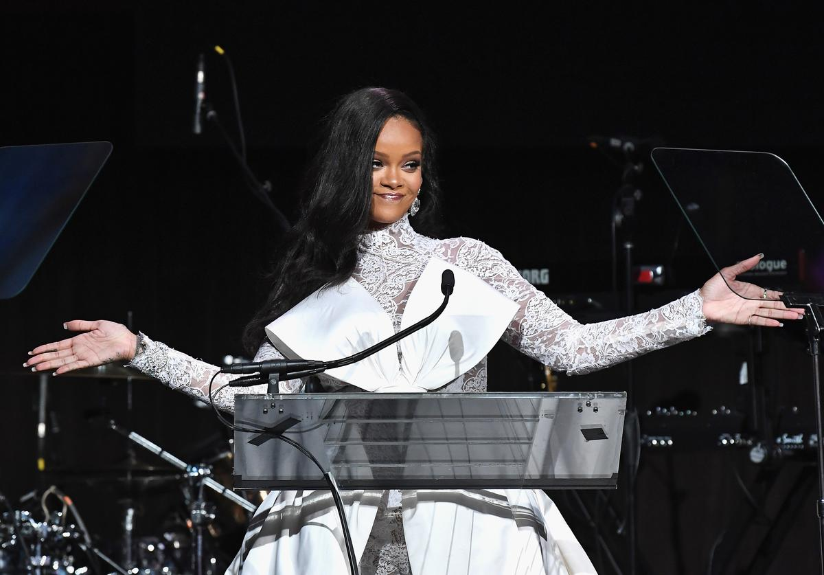 Rihanna speaks onstage during Rihanna's 4th Annual Diamond Ball benefitting The Clara Lionel Foundation at Cipriani Wall Street on September 13, 2018 in New York City