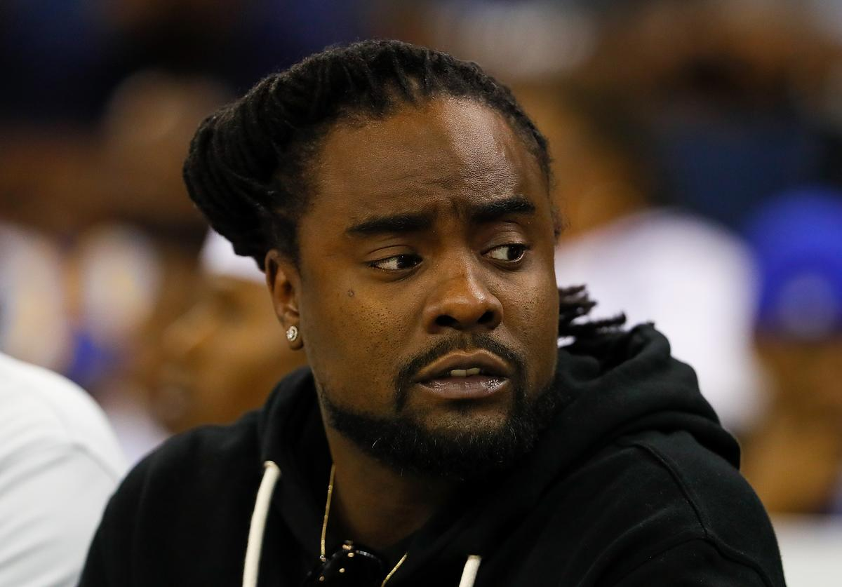 Wale looks on during week eight of the BIG3 three on three basketball league at Infinite Energy Arena on August 10, 2018 in Duluth, Georgia