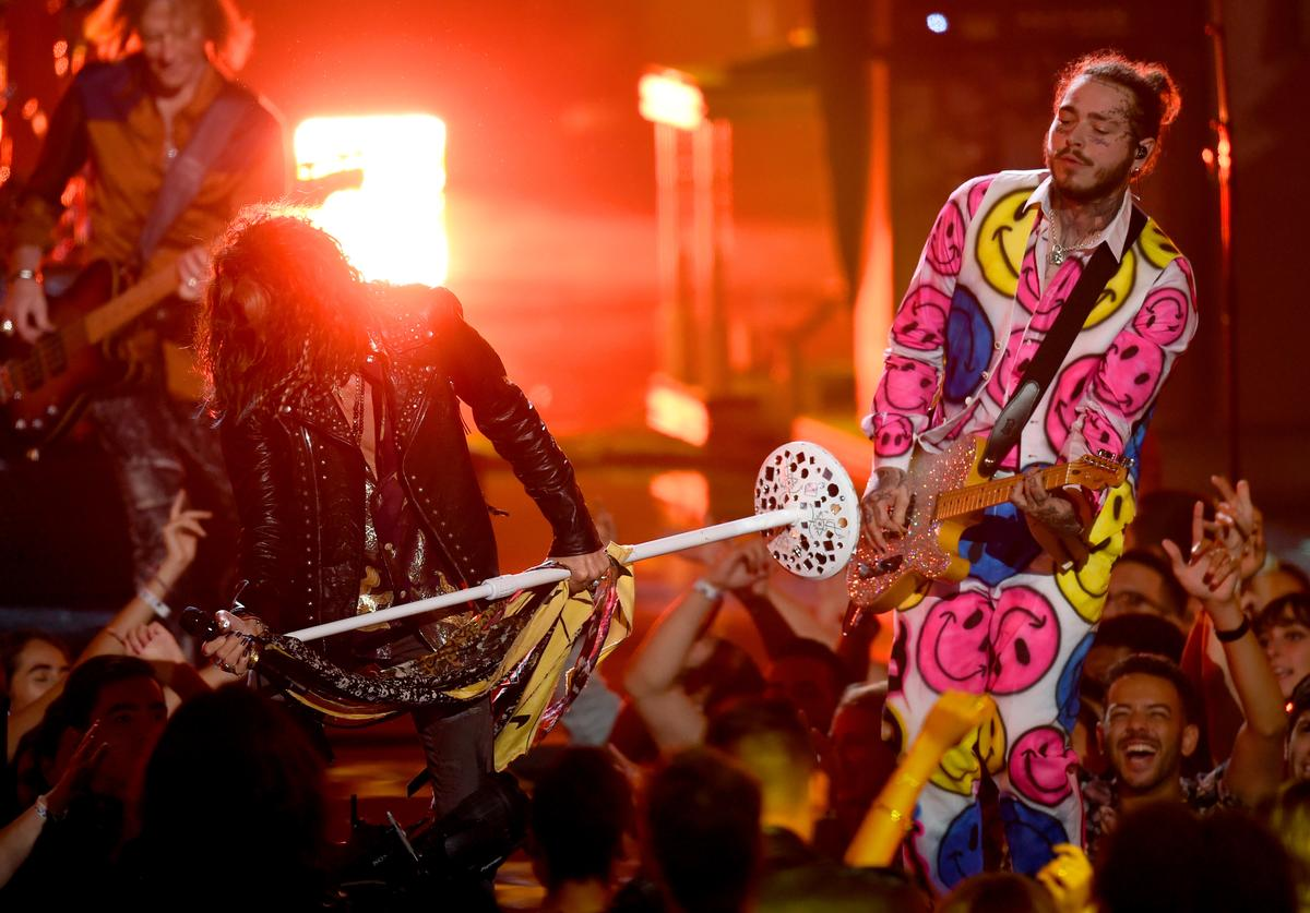 Steven Tyler of Aerosmith and Post Malone perform onstage during the 2018 MTV Video Music Awards at Radio City Music Hall on August 20, 2018 in New York City