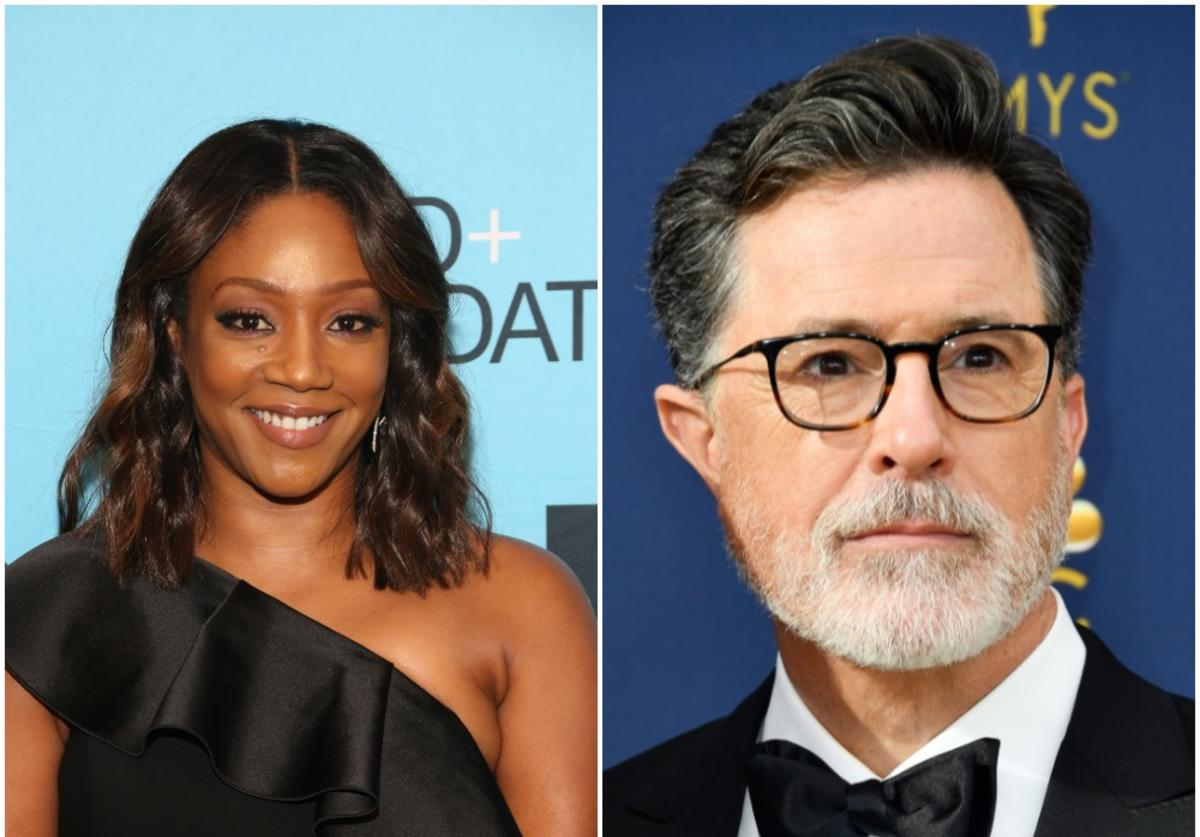 Tiffany Haddish and Stephen Colbert