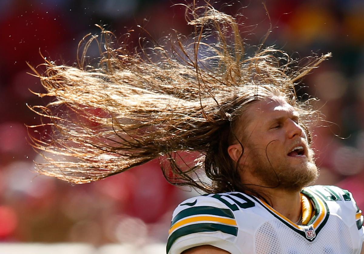 Inside linebacker Clay Matthews #52 of the Green Bay Packers whips his hair during their NFL game against the San Francisco 49ers at Levi's Stadium on October 4, 2015 in Santa Clara, California