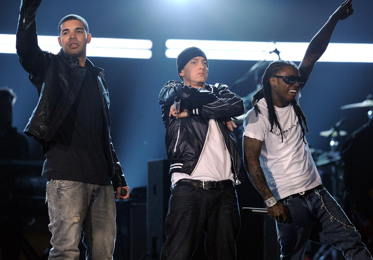 Drake, Eminem, and Lil Wayne perform onstage during the 52nd Annual GRAMMY Awards held at Staples Center on January 31, 2010 in Los Angeles, California