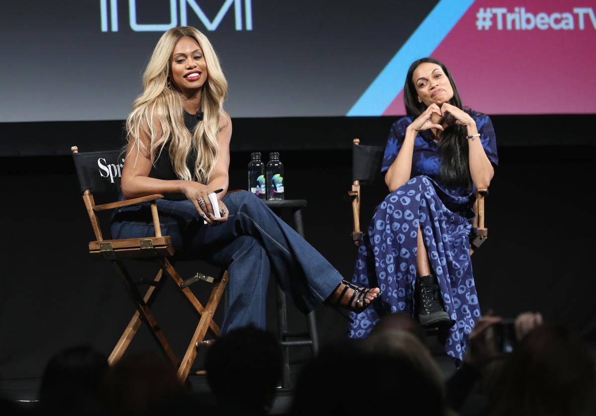 Laverne Cox and Rosario Dawson speak onstage during Tribeca TV Festival's Tribeca Talks: The Journey Inspired By TUMI with Rosario Dawson And Laverne Cox on September 22, 2018 in New York City