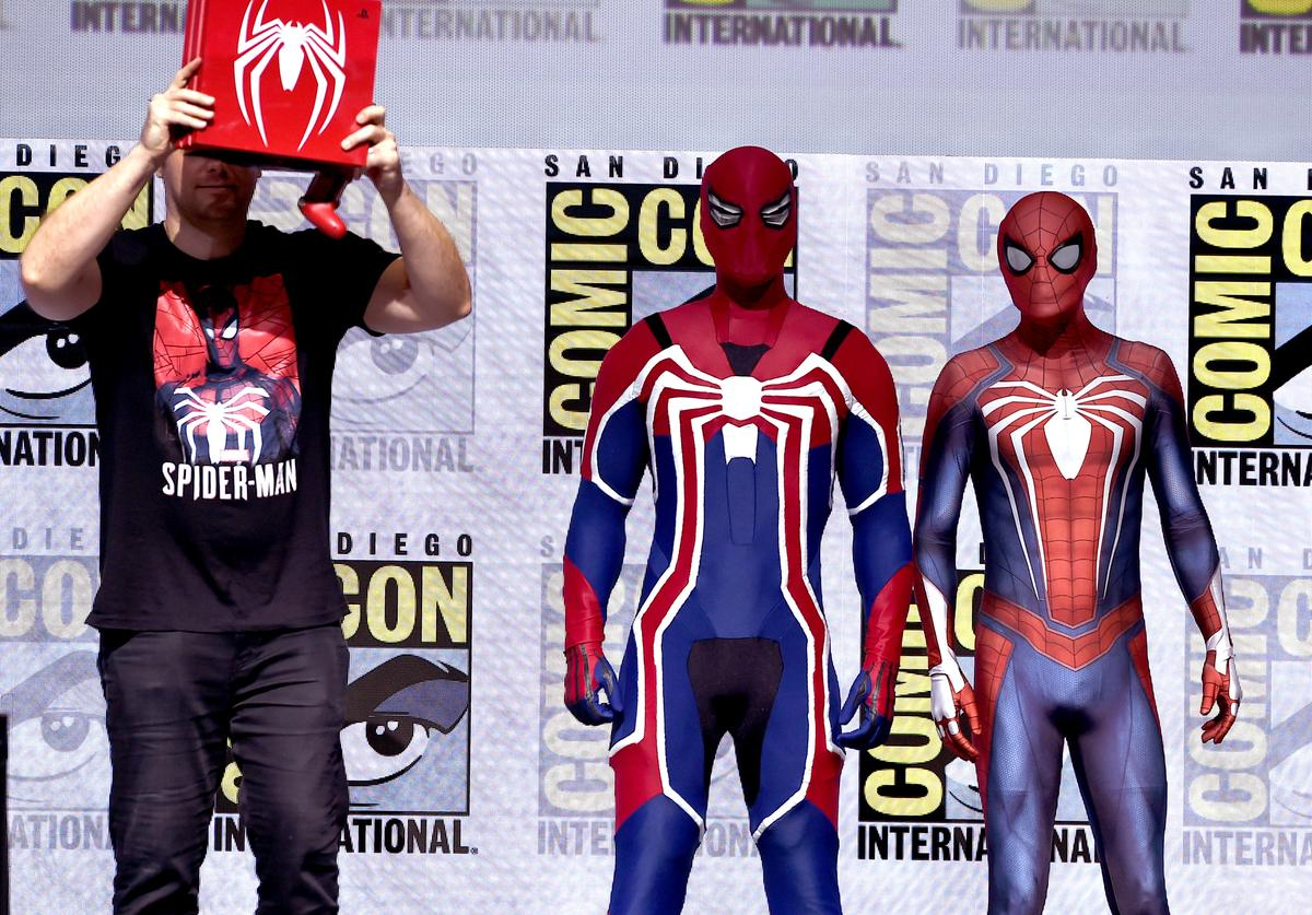New Spider-man suits are revealed for the Spider-Man PS4 game onstage during the Marvel Games Panel during Comic-Con International 2018 at San Diego Convention Center on July 19, 2018 in San Diego, California.