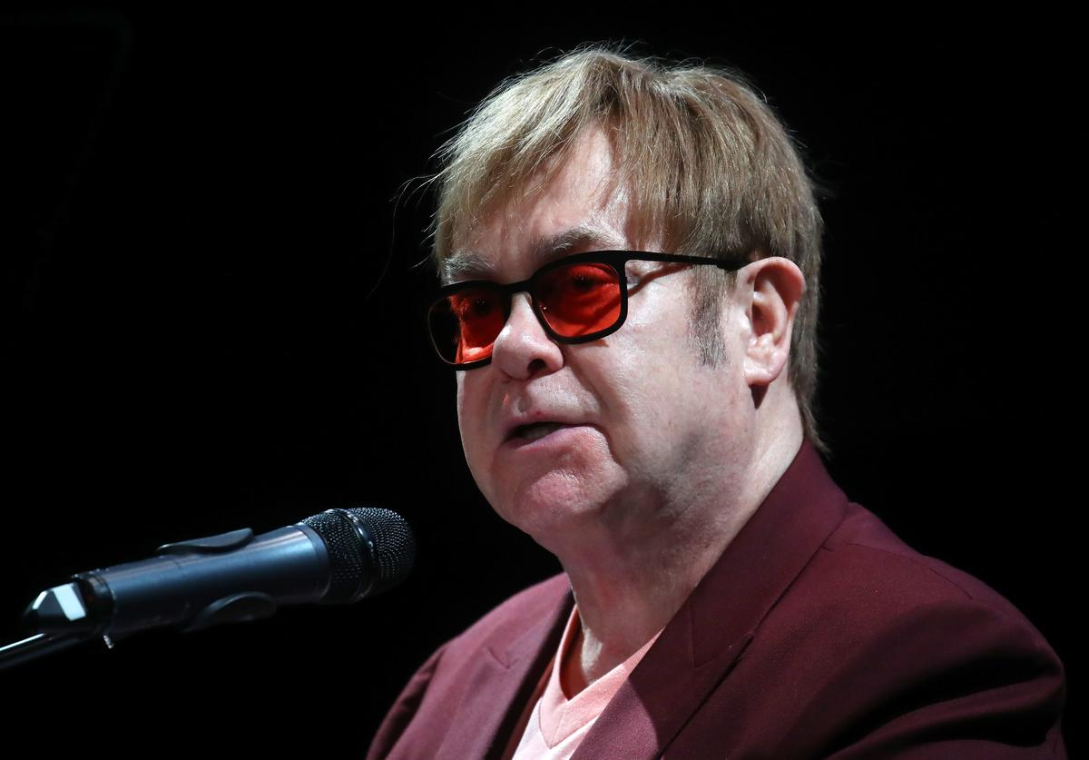 Sir Elton John speaks during a lecture on 'The Diana, Princess of Wales Lecture on HIV' at French Institute South Kensington on June 8, 2018 in London, England.
