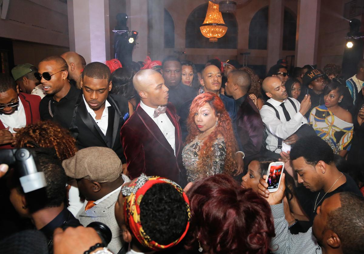 TI and his wife Tiny Harris celebrates with family and friend as GREY GOOSE Vodka hosts Tip Harris' birthday celebration on September 28, 2013 in Atlanta, Georgia