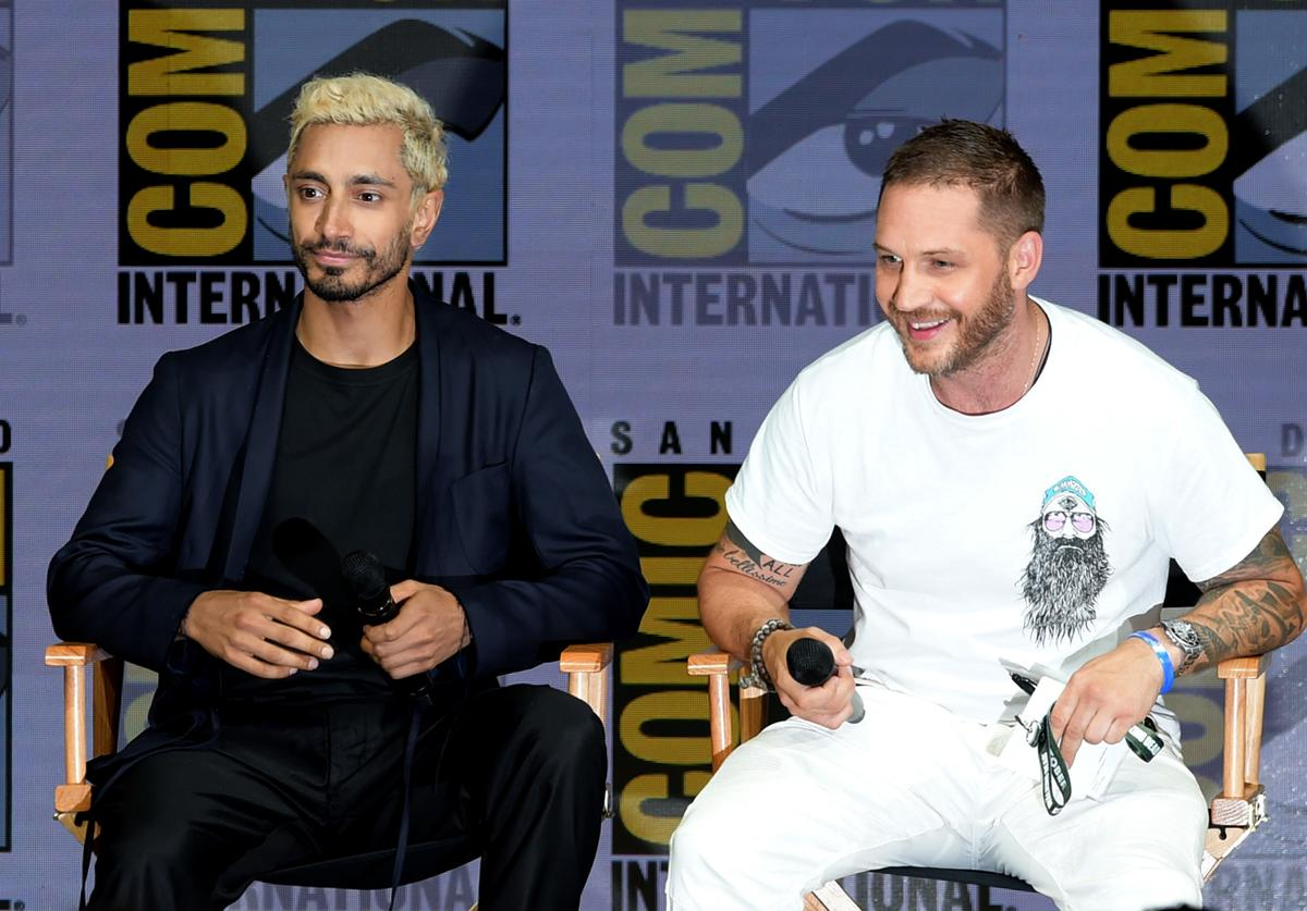 Tom Hardy speak onstage at the Sony Pictures' panel during Comic-Con International 2018 at San Diego Convention Center on July 20, 2018 in San Diego, California.