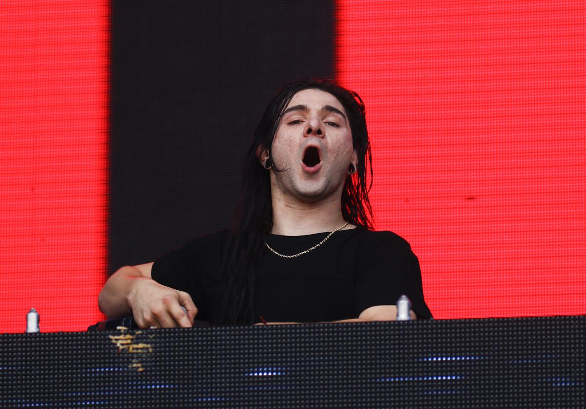 Skrillex performs in the Snake Pit during the Indy 500 at the Indianapolis Motor Speedway on May 29, 2016 in Indianapolis, Indiana.