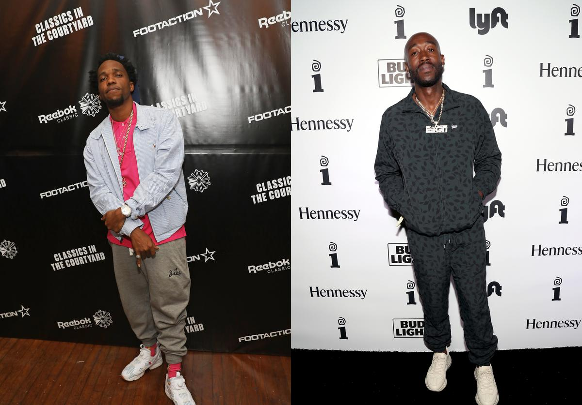 Curren$y attends as Reebok Classic and Footaction host a star-studded concert with Cam'ron, Teyana Taylor and Curren$y on February 18, 2017 in New Orleans, Louisiana; Freddie Gibbs attends IGA X BET Awards Party 2018 on June 24, 2018 in Los Angeles, California.