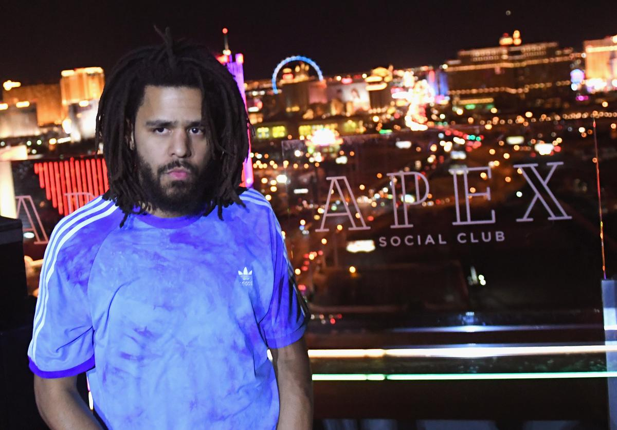 J. Cole performs during the From Dust To Gold preview party at the Apex Social Club at Palms Casino Resort on May 17, 2018 in Las Vegas, Nevada