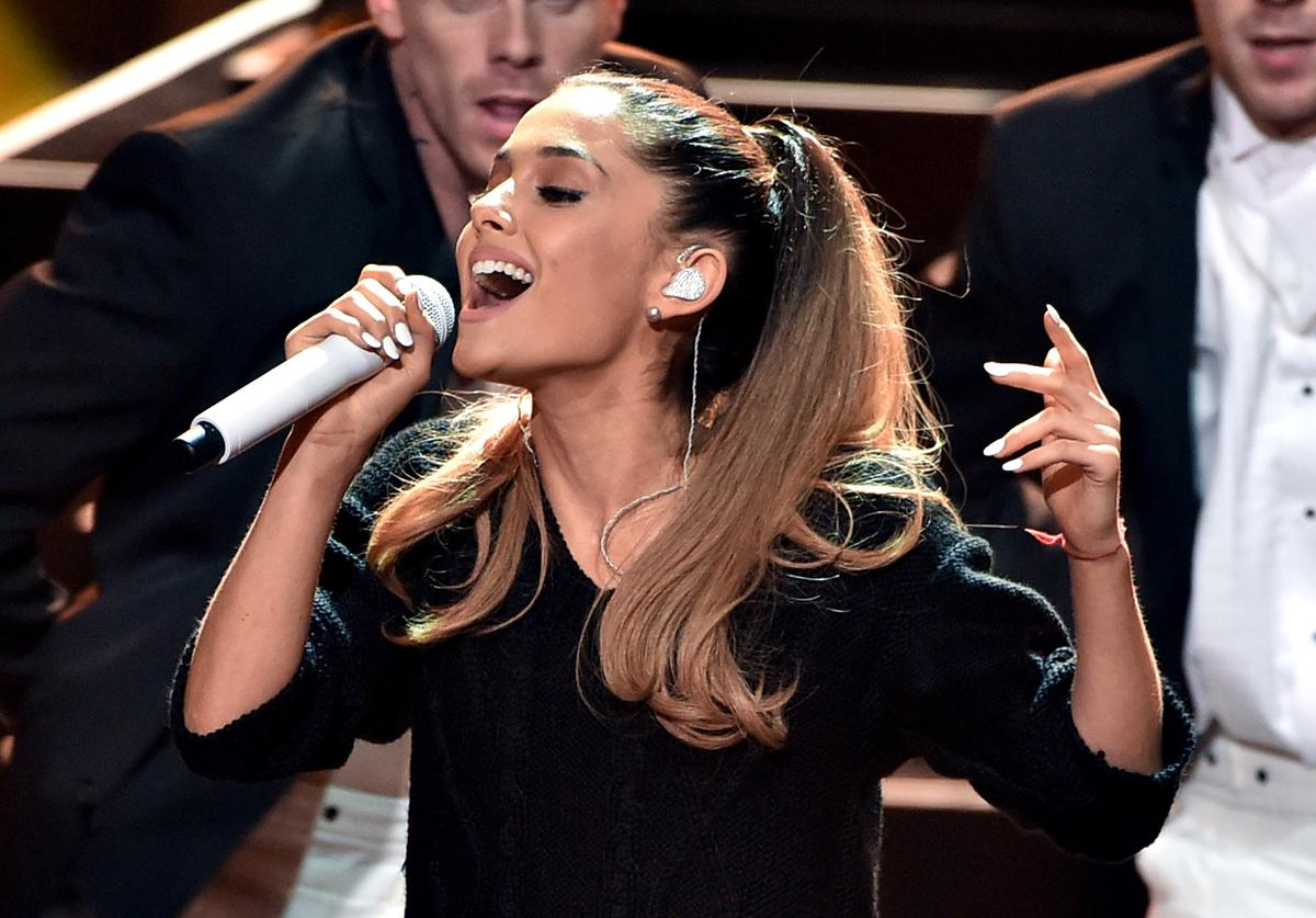 Ariana Grande performs onstage during the 2014 iHeartRadio Music Awards held at The Shrine Auditorium on May 1, 2014 in Los Angeles, California