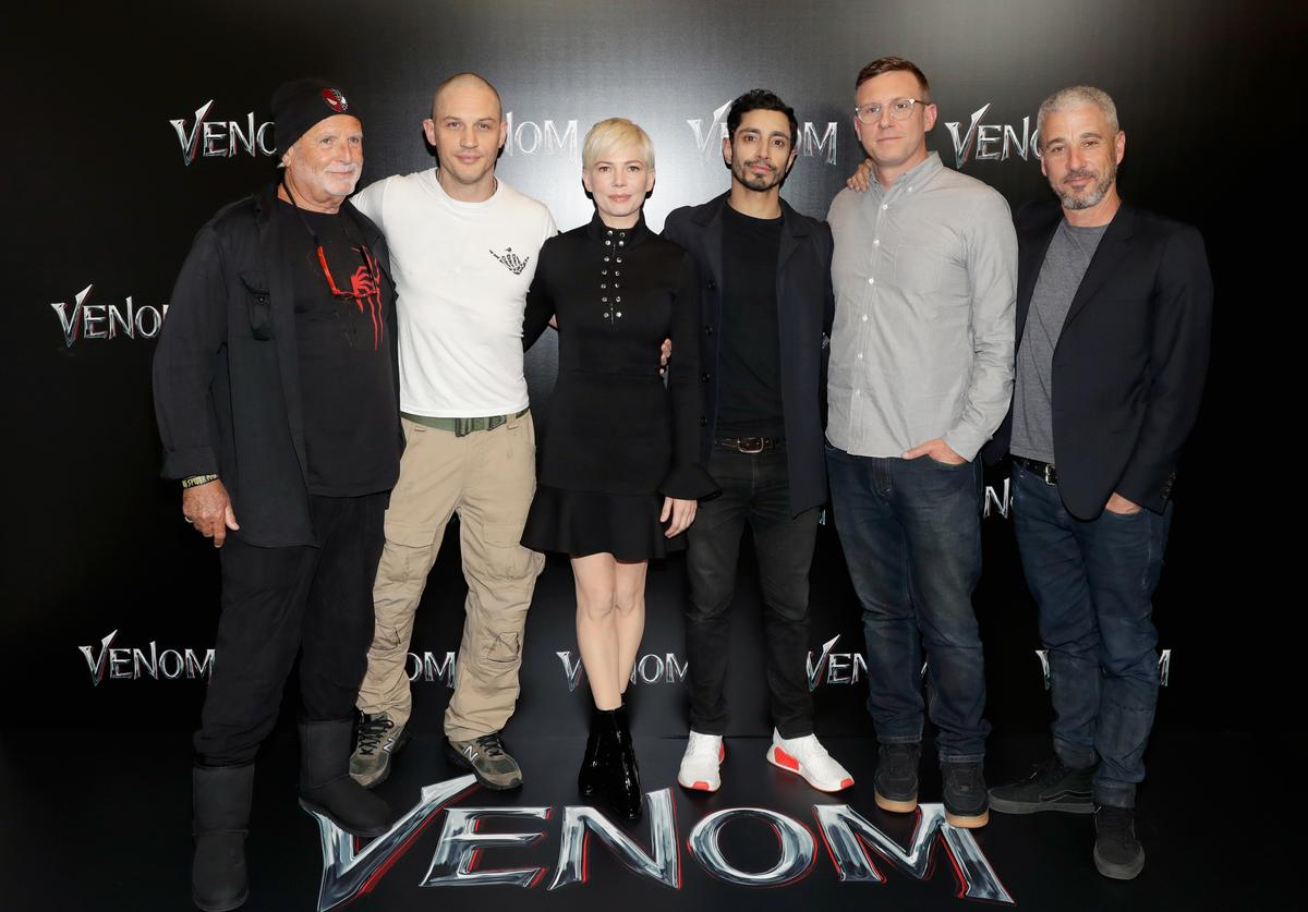 ) Producer Avi Arad, actors Michelle Williams, Tom Hardy, Riz Ahmed, director Ruben Fleischer and producer Matt Tolmach attend the CinemaCon 2018 Gala Opening Night Event: Sony Pictures Highlights its 2018 Summer and Beyond Films at The Colosseum at Caesars Palace during CinemaCon, the official convention of the National Association of Theatre Owners, on April 23, 2018 in Las Vegas, Nevada.