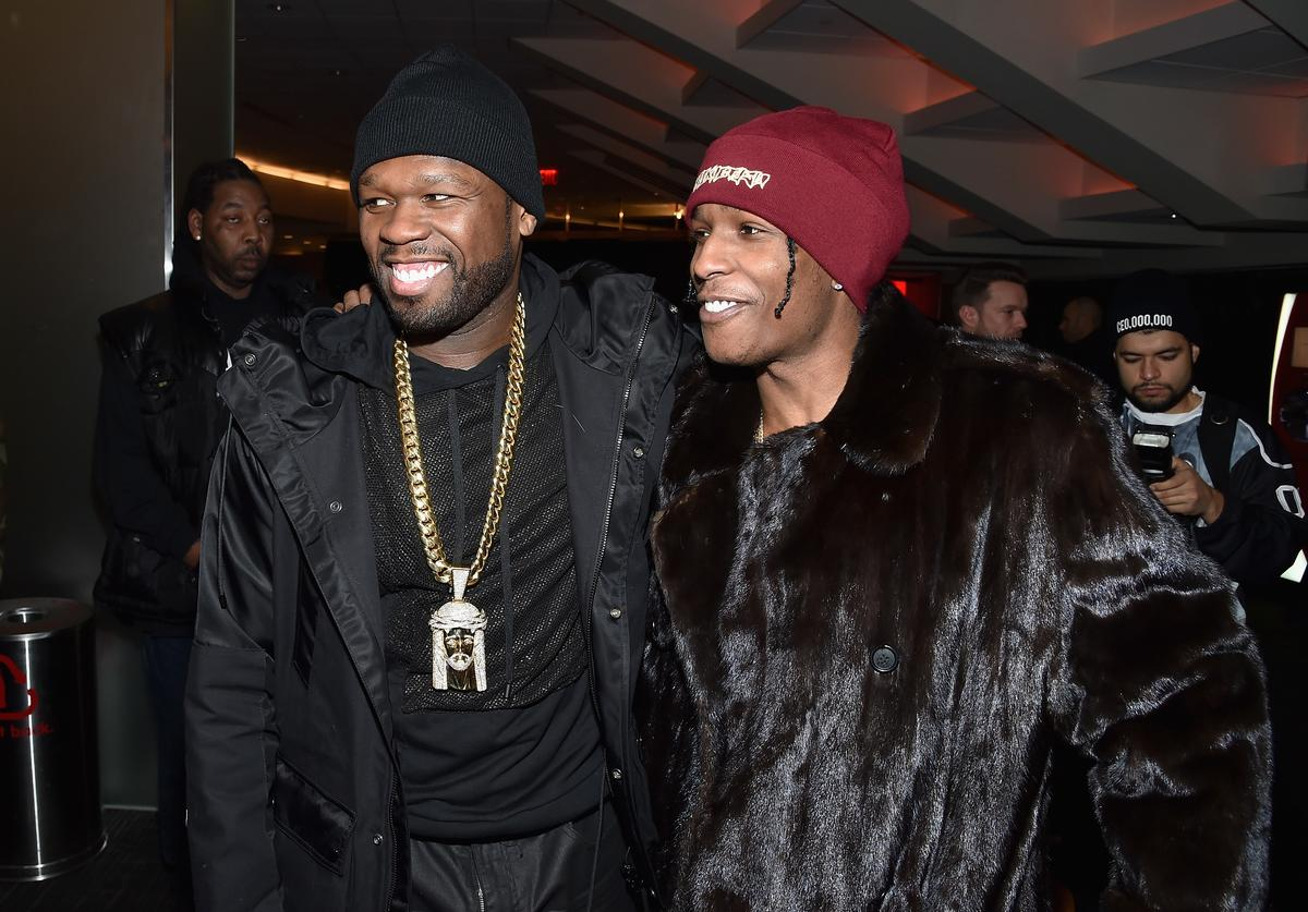 Rappers 50 Cent (L) and ASAP Rocky attend Kanye West Yeezy Season 3 on February 11, 2016 in New York City.
