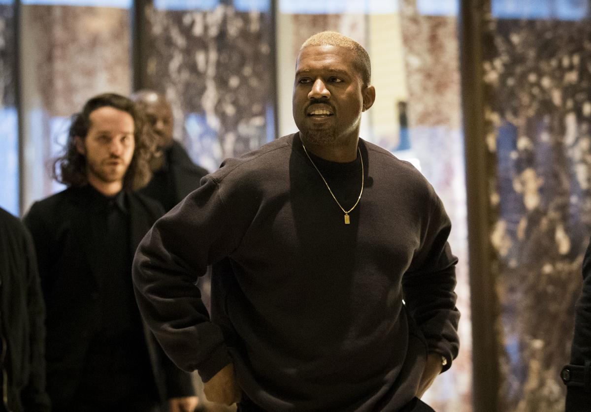 Kanye West arrives at Trump Tower, December 13, 2016 in New York City