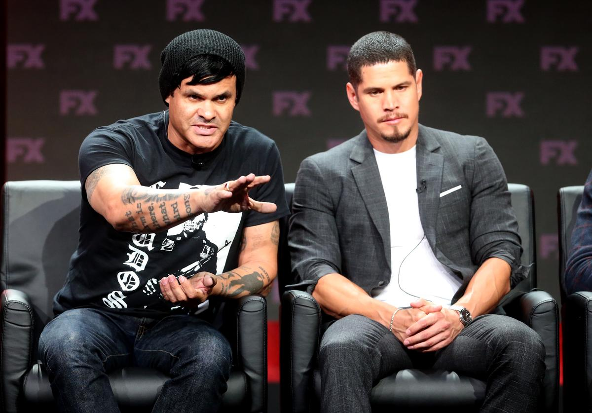 : Co-creator/executive producer/writer/director Elgin James (L) and actor J. D. Pardo speak onstage at the 'Mayans MC' panel during the FX Network portion of the Summer 2018 TCA Press Tour at The Beverly Hilton Hotel on August 3, 2018 in Beverly Hills, California.