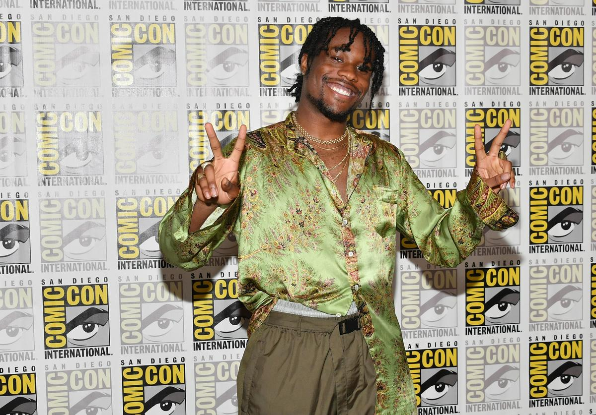 Shameik Moore attends Sony's 'Venom' and 'Spider-Man: Into The Spider-Verse' Press Lines during Comic-Con International 2018 at Hilton Bayfront on July 20, 2018 in San Diego, California. (