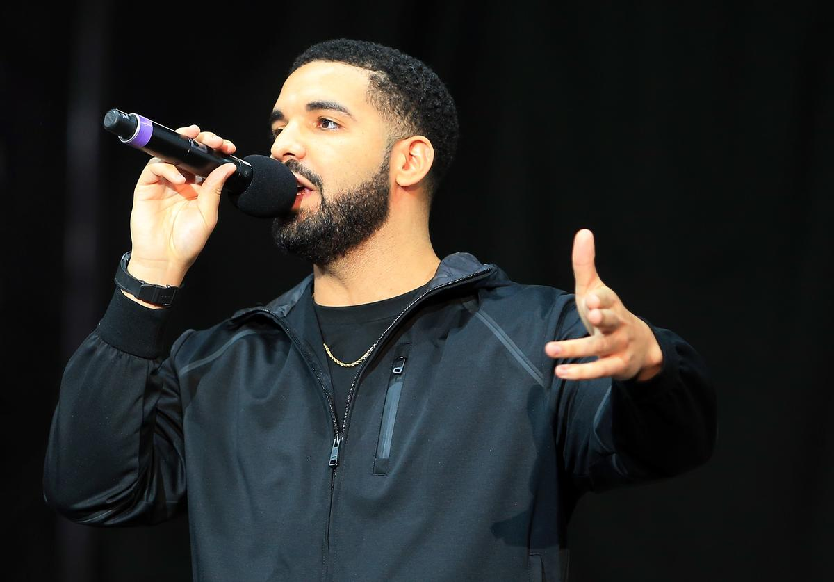 Drake speaks to the crowd prior to the Floyd Mayweather Jr. v Conor McGregor World Press Tour at Budweiser Stage on July 12, 2017 in Toronto, Canada