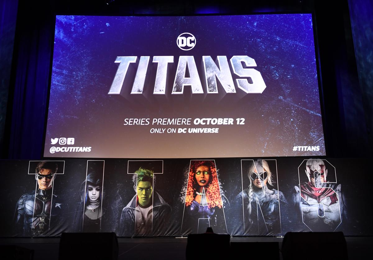 view of the main stage during DC UNIVERSE's Titans World Premiere on October 3, 2018 in New York City.