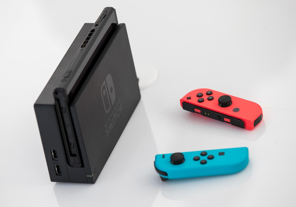 The new Nintendo Switch game console is displayed at a pop-up Nintendo venue in Madison Square Park, March 3, 2017 in New York City