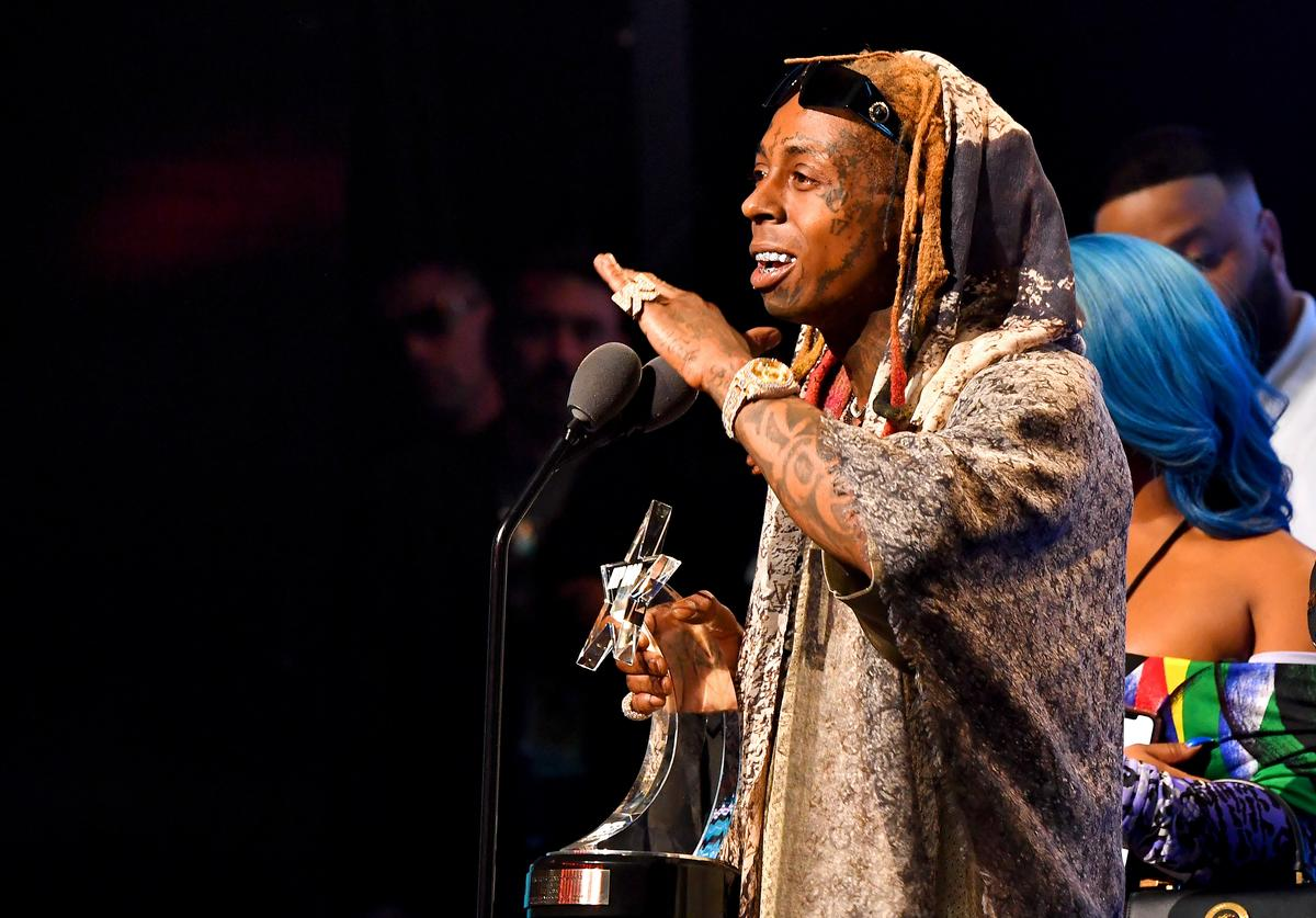 Rapper Lil Wayne onstage during the BET Hip Hop Awards 2018 at Fillmore Miami Beach on October 6, 2018 in Miami Beach, Florida. (Photo by Paras Griffin/Getty Images for BET)