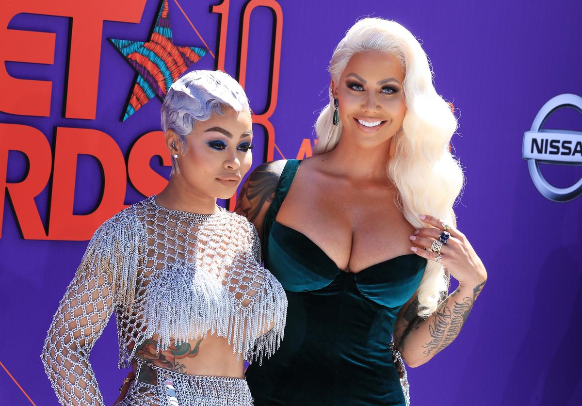 Blac Chyna (L) and Amber Rose attend the 2018 BET Awards at Microsoft Theater on June 24, 2018 in Los Angeles, California