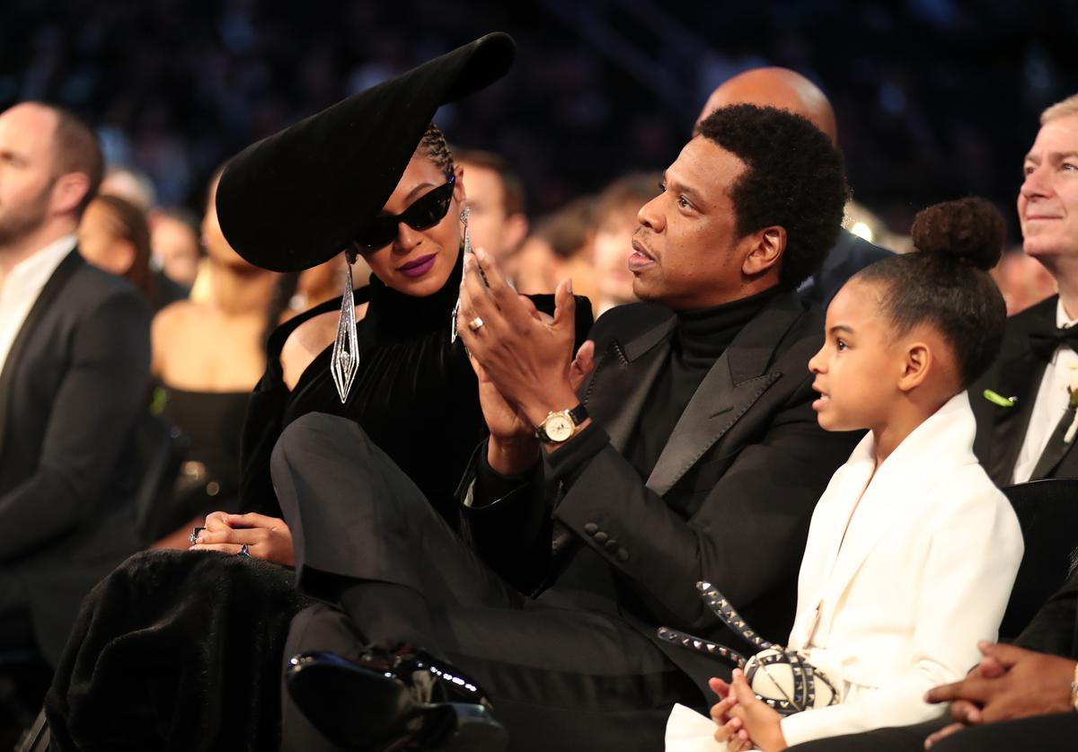 Recording artists Beyonce, Jay Z and daughter Blue Ivy Carter attend the 60th Annual GRAMMY Awards at Madison Square Garden on January 28, 2018 in New York City.
