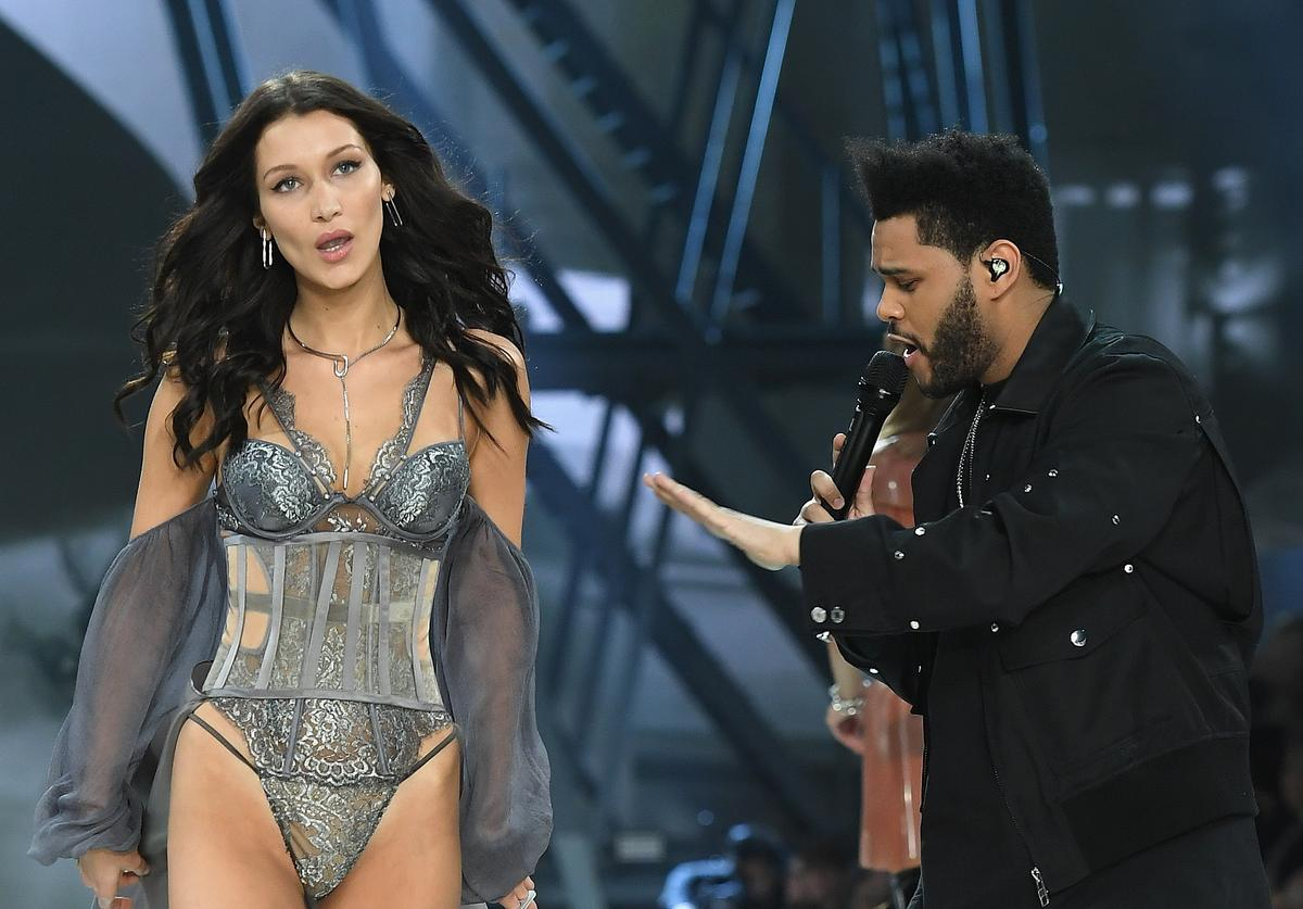 Bella Hadid walks the runway as The Weekend performs during the 2016 Victoria's Secret Fashion Show on November 30, 2016 in Paris, France