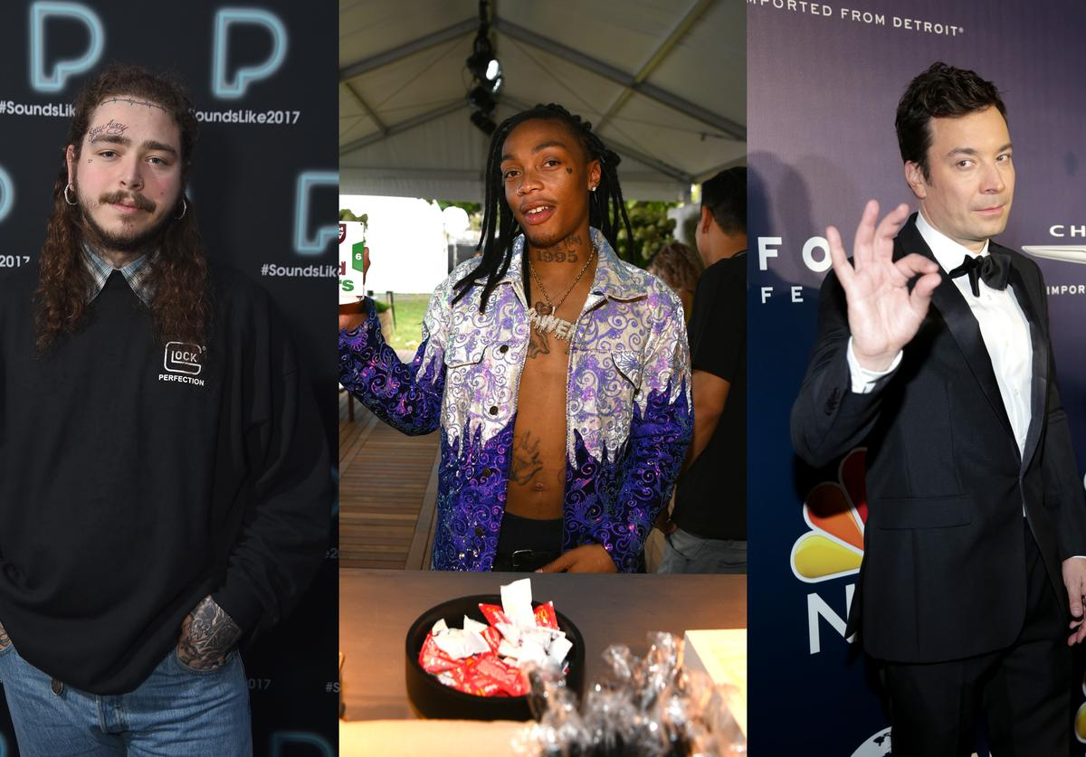 Post Malone poses backstage at Pandora Sounds Like You: 2017 on December 5, 2017 in New York City. Music artist Tyla Yaweh attends McDonald's at Made In America Festival on September 1, 2018 in Philadelphia, Pennsylvania. Comedian Jimmy Fallon attends NBCUniversal's 74th Annual Golden Globes After Party at The Beverly Hilton Hotel on January 8, 2017 in Beverly Hills, California.
