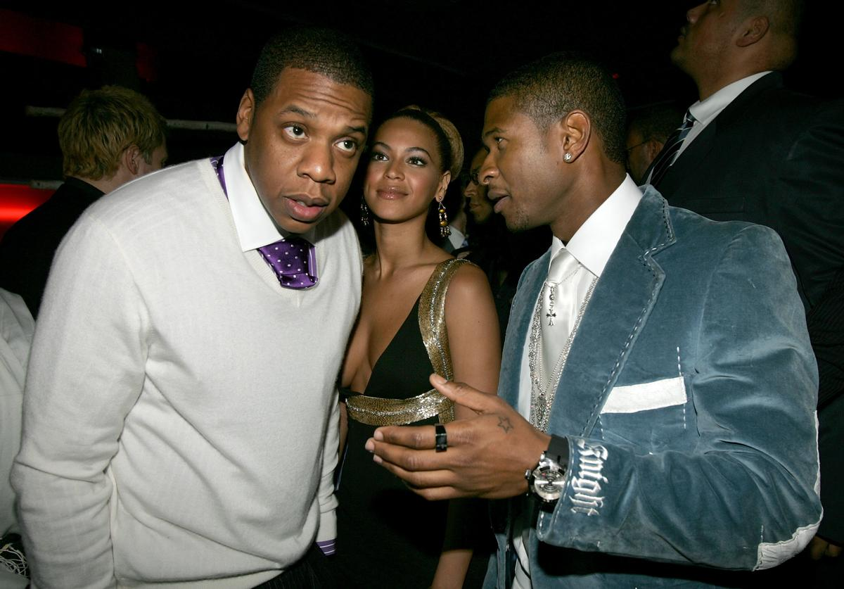 Jay Z, singer Beyonce Knowles and Usher attend Usher's Private Grammy Party hosted by Entertainment Weekly held at the Geisha House on February 13, 2005 in Hollywood, California