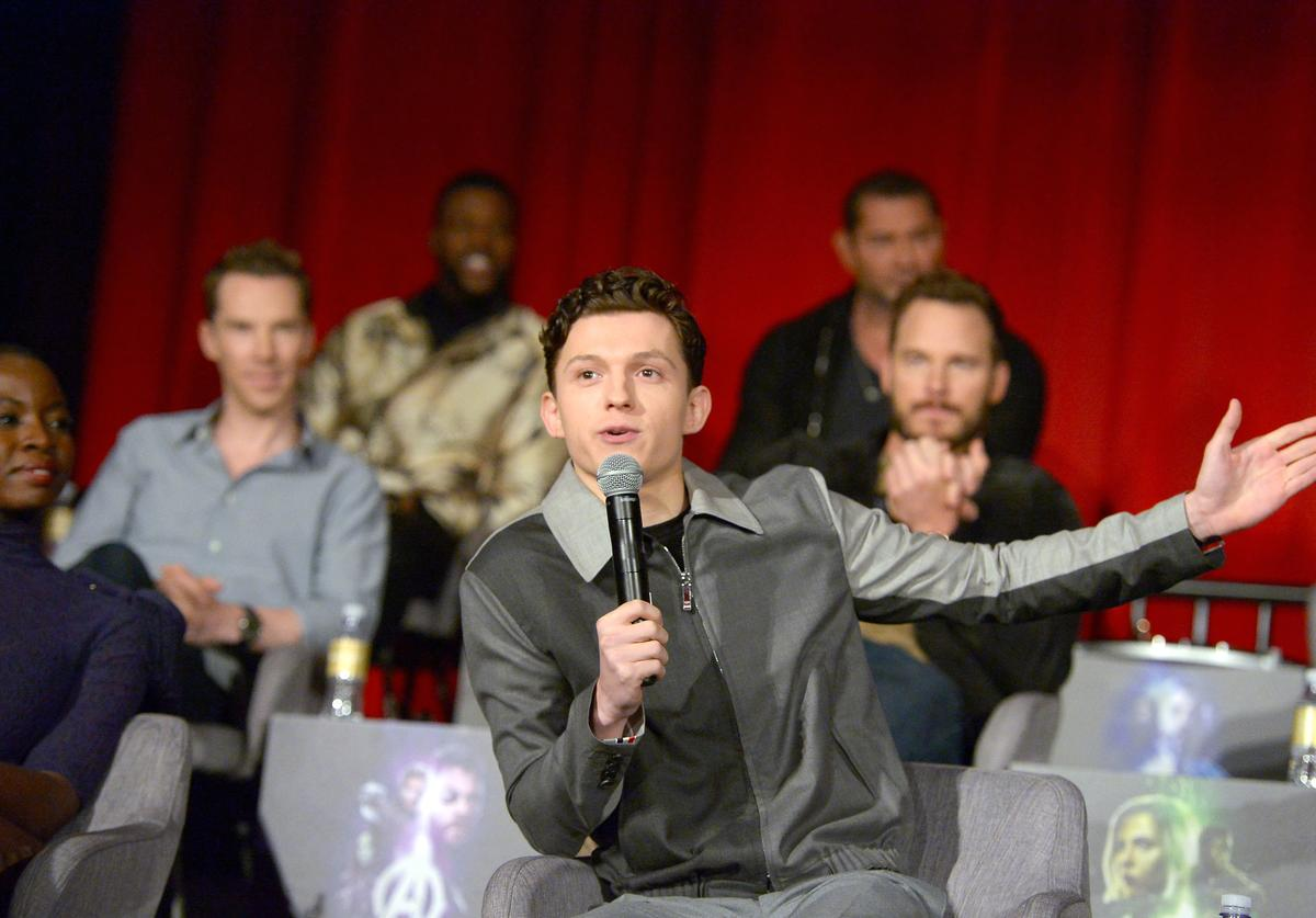 Actors Danai Gurira, Benedict Cumberbatch, Winston Duke, Tom Holland, Dave Bautista, and Chris Pratt attend the Global Press Conference at the Avengers: Infinity War Press Junket in Los Angeles, CA April 22nd, 2018