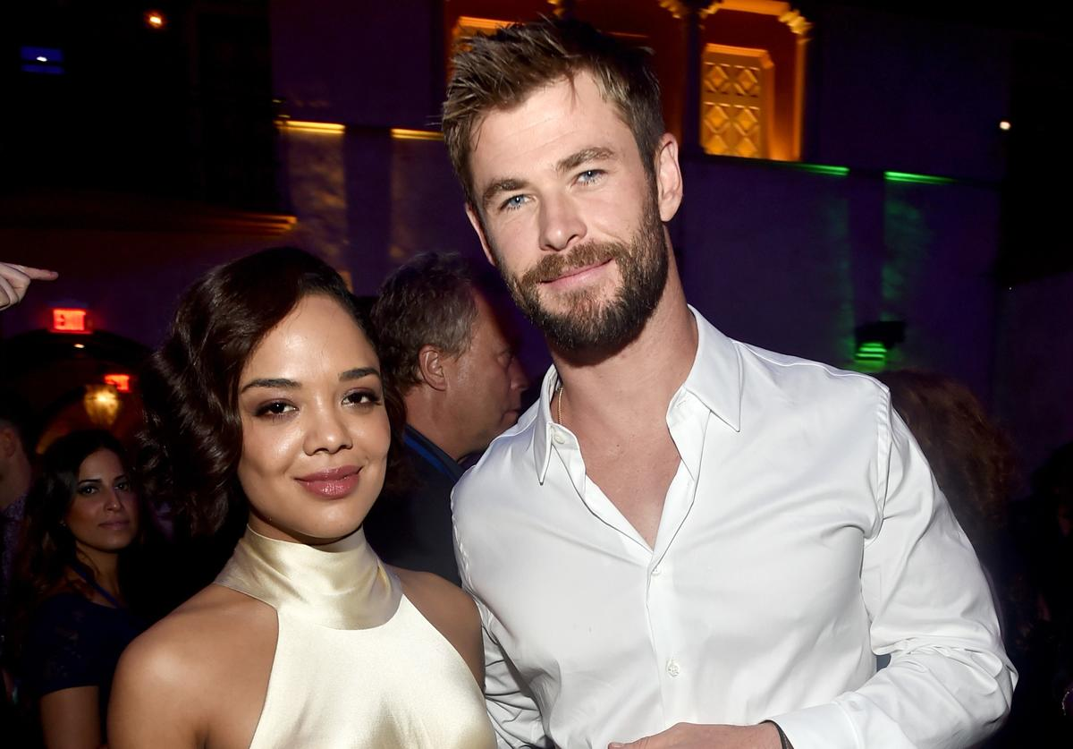 Actors Tessa Thompson (L) and Chris Hemsworth at The World Premiere of Marvel Studios' 'Thor: Ragnarok' at the El Capitan Theatre on October 10, 2017 in Hollywood, California.
