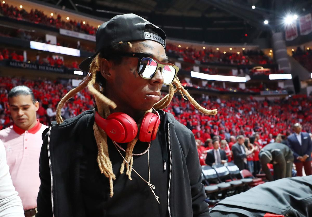 Lil Wayne attends Game Two of the Western Conference Finals of the 2018 NBA Playoffs between the Houston Rockets and the Golden State Warriors at Toyota Center on May 16, 2018 in Houston, Texas