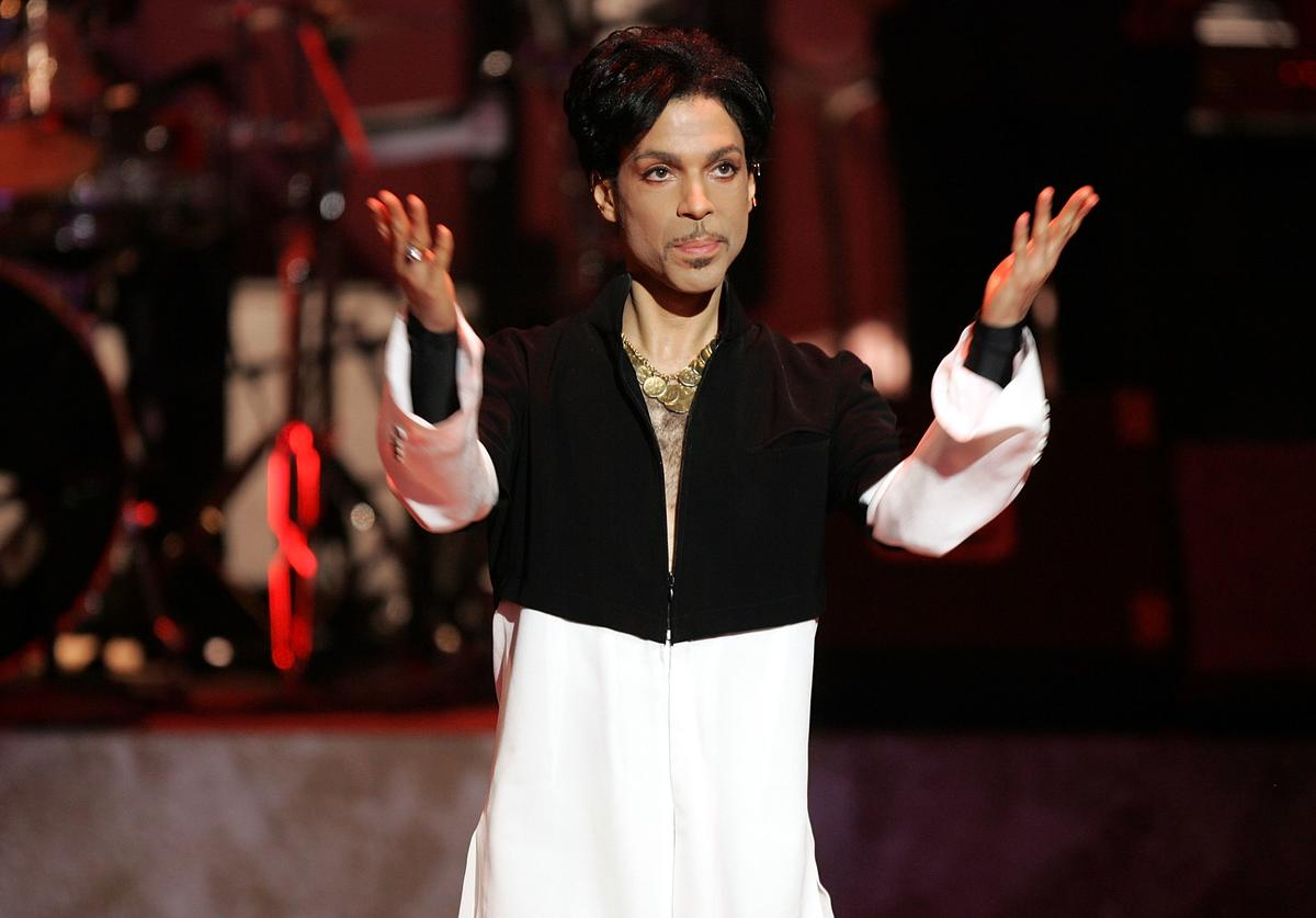 Musician Prince is seen on stage at the 36th NAACP Image Awards at the Dorothy Chandler Pavilion on March 19, 2005 in Los Angeles, California. Prince was honored with the Vanguard Award.