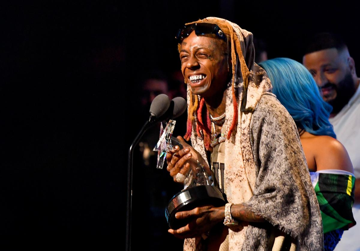 Lil Wayne accepts an award onstage during the BET Hip Hop Awards 2018 at Fillmore Miami Beach on October 6, 2018 in Miami Beach, Florida.