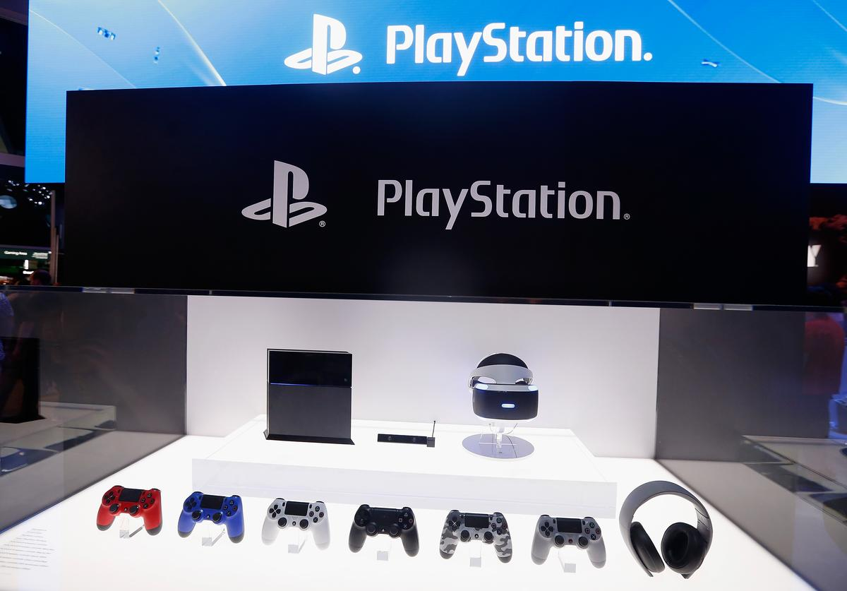 Detail of the Sony PlayStation 4 and peripherals, including the virtual reality 'Project Morpheus', during the Annual Gaming Industry Conference E3 at the Los Angeles Convention Center on June 16, 2015 in Los Angeles, California.