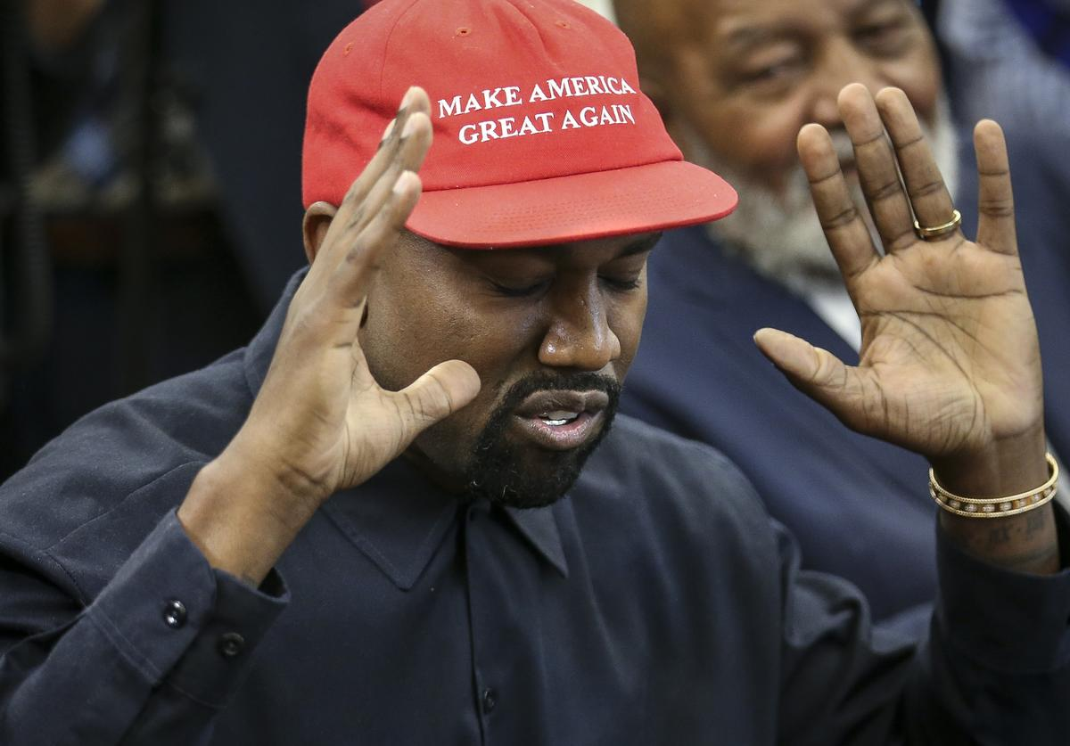 Rapper Kanye West speaks during a meeting with U.S. President Donald Trump in the Oval office of the White House on October 11, 2018 in Washington, DC