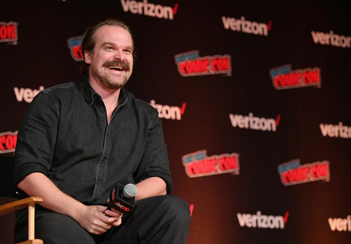 David Harbour speaks onstage during the Hellboy panel during New York Comic Con at Jacob Javits Center on October 6, 2018 in New York City