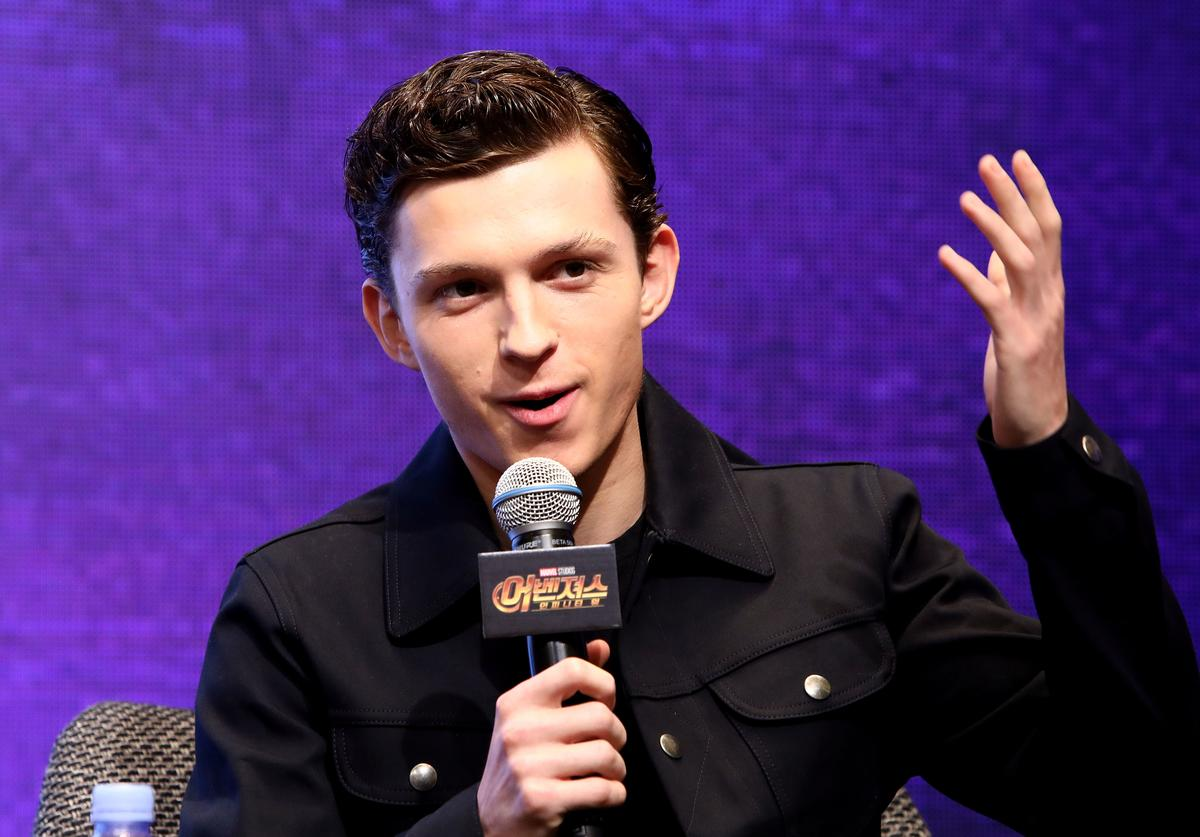 Tom Holland attends the press conference for 'Avengers Infinity War' Seoul premiere on April 12, 2018 in Seoul, South Korea.