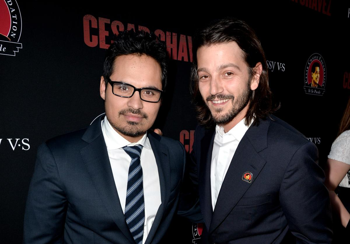 Actor Michael Pena (L) and director Diego Luna arrive at the premiere of Pantelion Films And Participant Media's 'Cesar Chavez' at the Chinese Theatre on March 20, 2014 in Los Angeles, California.