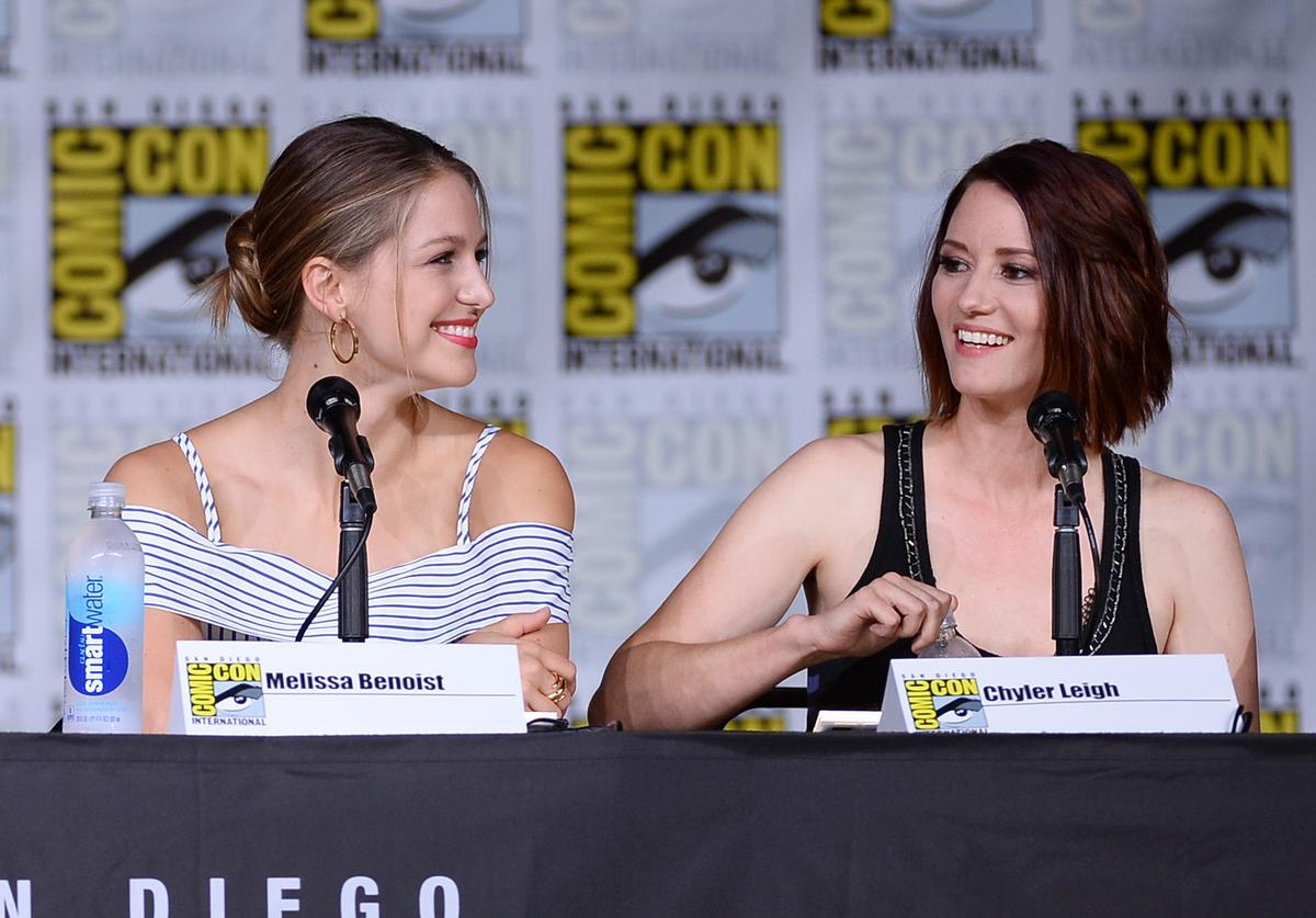 Actresses Melissa Benoist (L) and Chyler Leigh attend the 'Supergirl' Special Video Presentation and Q&A during Comic-Con International 2016 at San Diego Convention Center on July 23, 2016 in San Diego, California