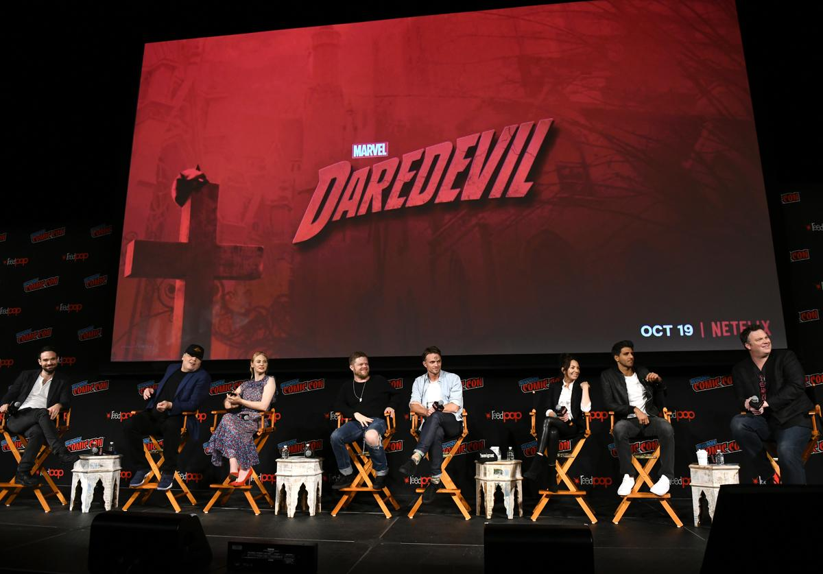 Actors Charlie Cox, Vincent D'Onofrio, Deborah Ann Woll, Elden Henson, Wilson Bethel, Joanne Whalley, Jay Ali and television writer Erik Oleson speak onstage at Marvel's DAREDEVIL panel during New York Comic Con at The Hulu Theater at Madison Square Garden on October 6, 2018 in New York City.