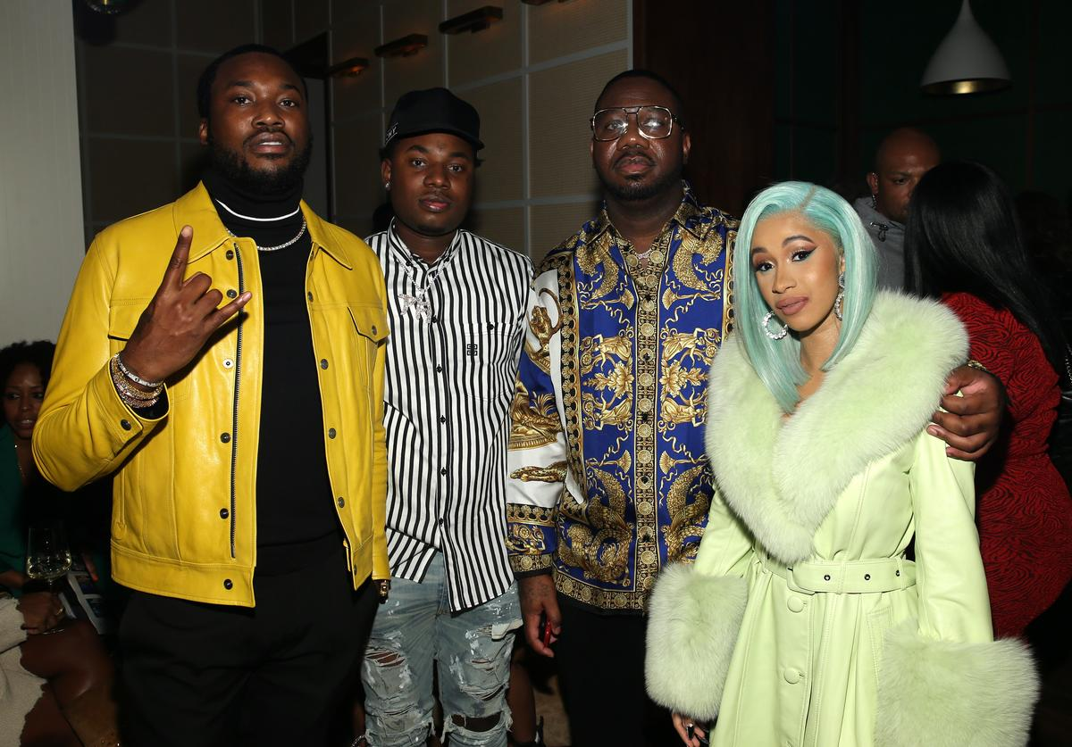 "Rapper Meek Mill, Rapper Marlo, Quality Control's Pierre ""Pee"" Thomas and Rapper Cardi B attend the Billboard 2018 R&B Hip-Hop Power Players event at Legacy Records on September 27, 2018 in New York City."