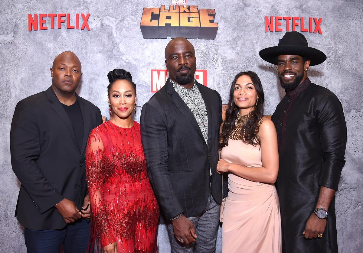 Cheo Hodari Coker, Simone Missick, Mike Colter, Rosario Dawson and Mustafa Shakir attend the Netflix Original Series Marvel's Luke Cage Season 2 New York City Premiere on June 21, 2018 in New York City.