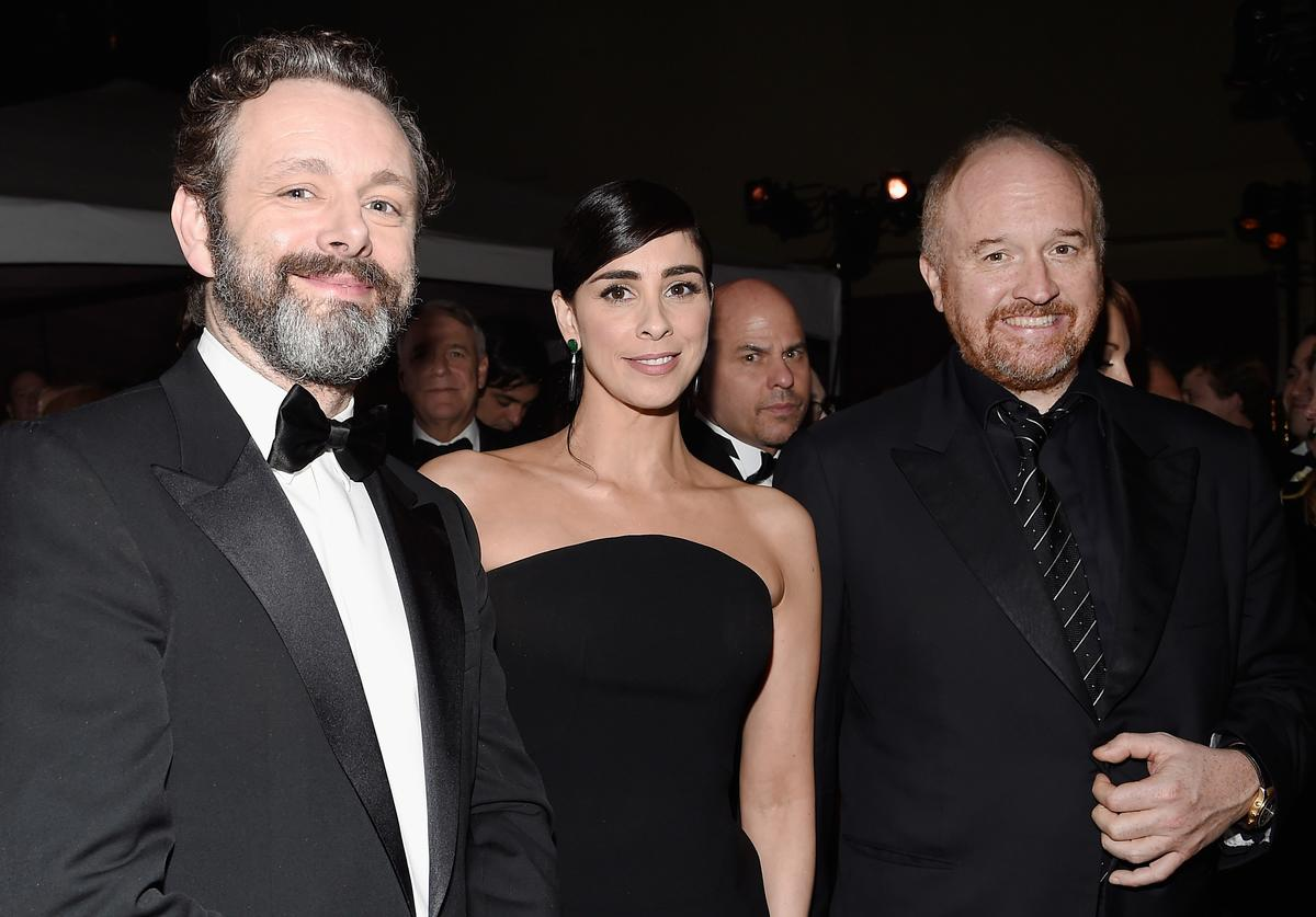Michael Sheen and comedians Sarah Silverman and Louis C.K. attend the 88th Annual Academy Awards Governors Ball at Hollywood & Highland Center on February 28, 2016 in Hollywood, California